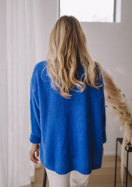 Electric-blue Cardigan Easy Clothes