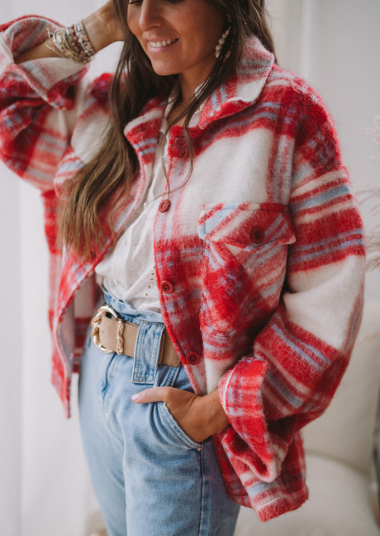 Red checkered Tibba jacket