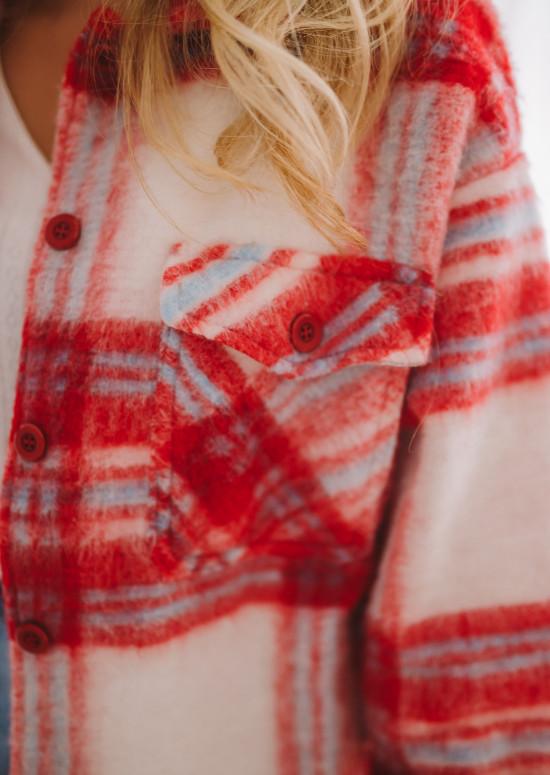 Veste Tibba à carreaux rouge