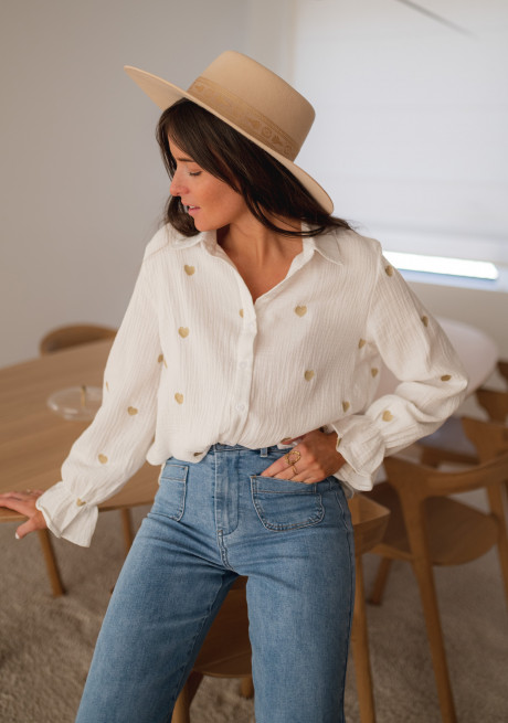 White Vicky shirt with golden hearts