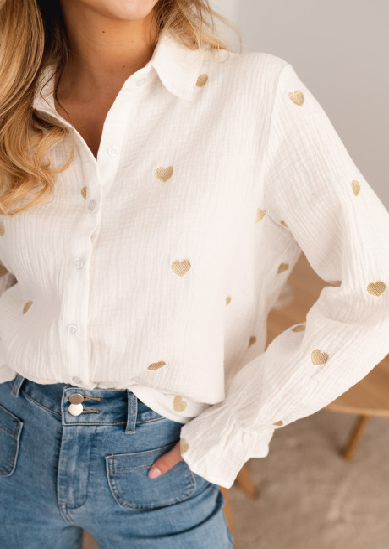 Chemise Vicky blanche à coeurs doré