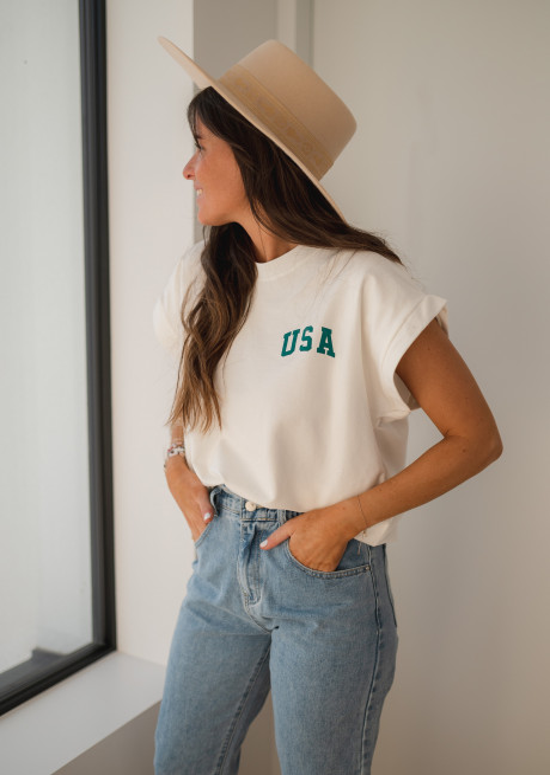 T-shirt USA écru