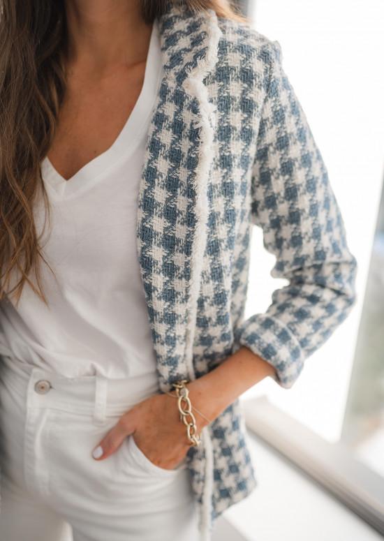 Blue and white houndteeth pattern Maha jacket