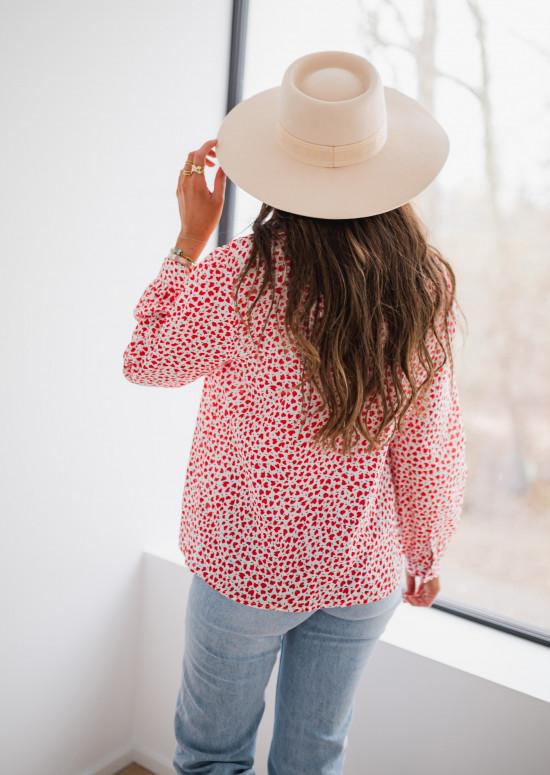 Chemise Meghana à coeurs rouges