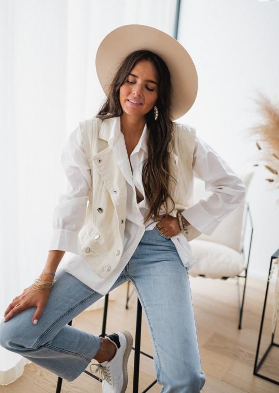 Veste Memphis blanche en jeans sans manche