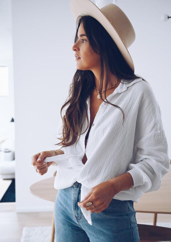 Chemise mi-longue Jauris blanche