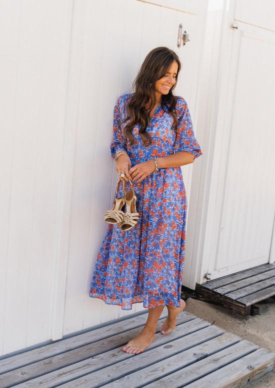 Robe Kaly bleue à fleurs