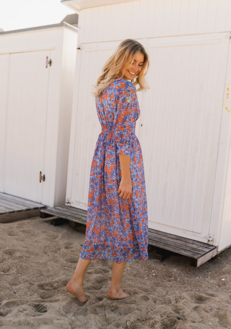 Blue Kaly dress with flowers