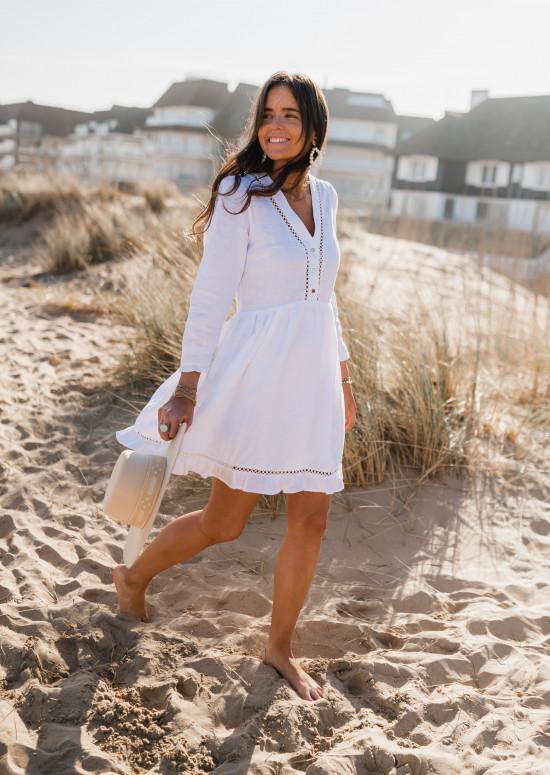 Robe Audrey blanche en lin - CREATION