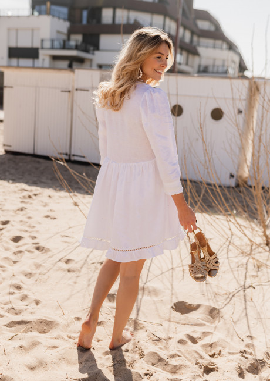 White Audrey linen dress - CREATION