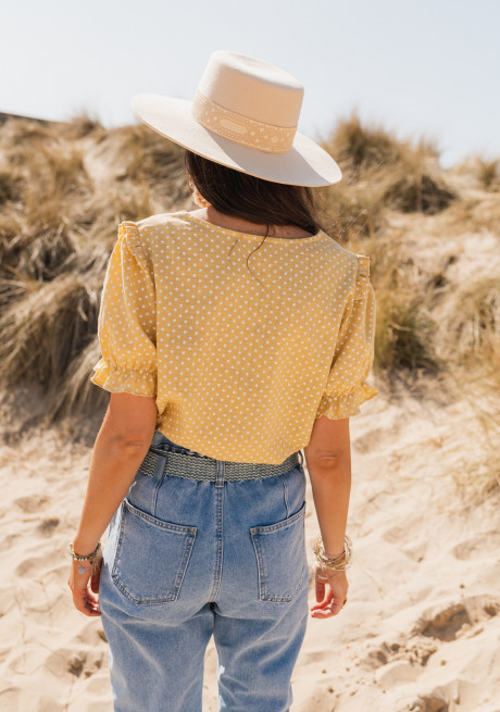 Mathilde blouse with yellow polka dots