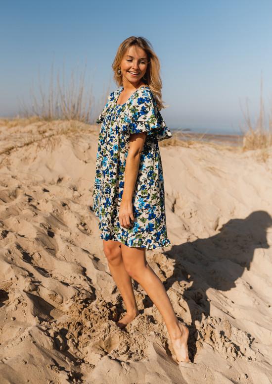 Robe Sabine à fleurs bleues - CREATION