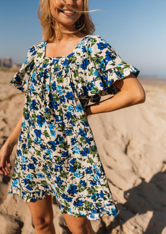 Sabine dress with blue flowers - CREATION