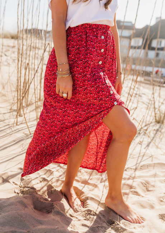 Jupe Alicia rouge à fleurs