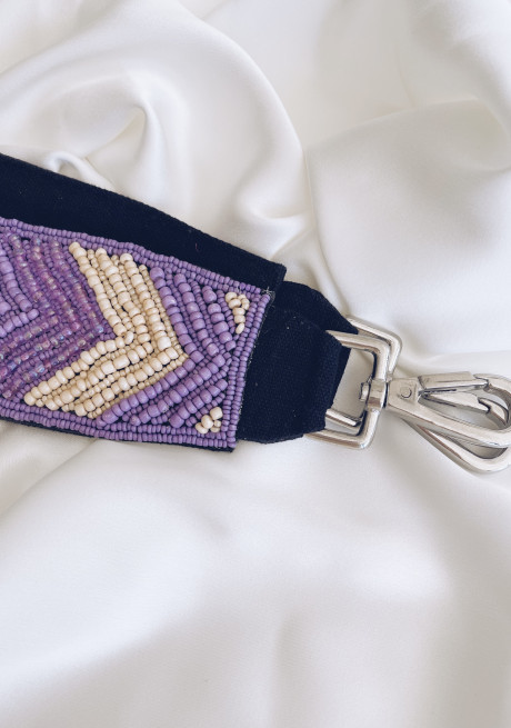 Keira bag strap with purple pearls
