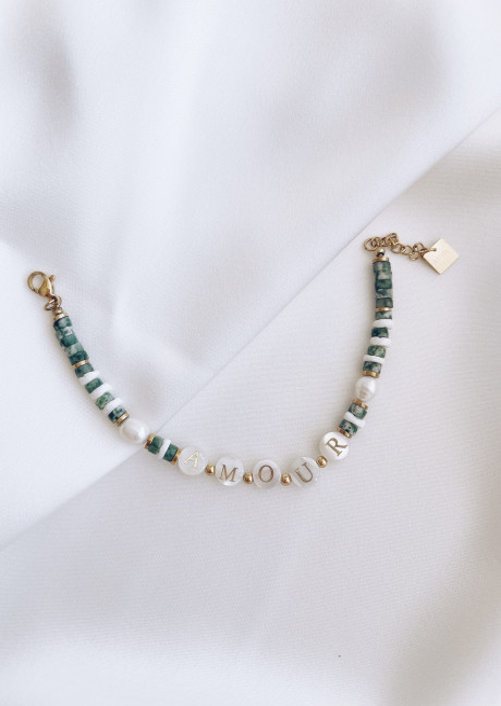 Bracelet Algia à pierres vertes