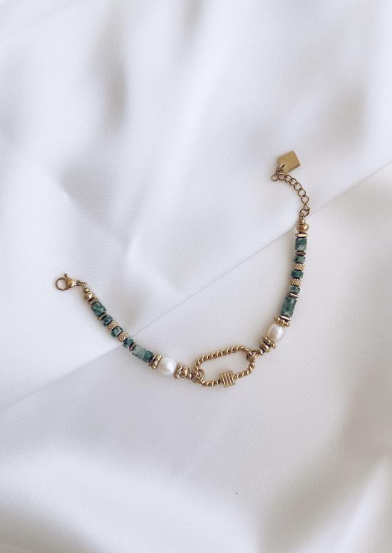 Bracelet Alaric à pierres vertes