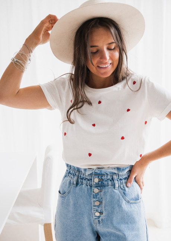 T-shirt Davia à coeurs rouge