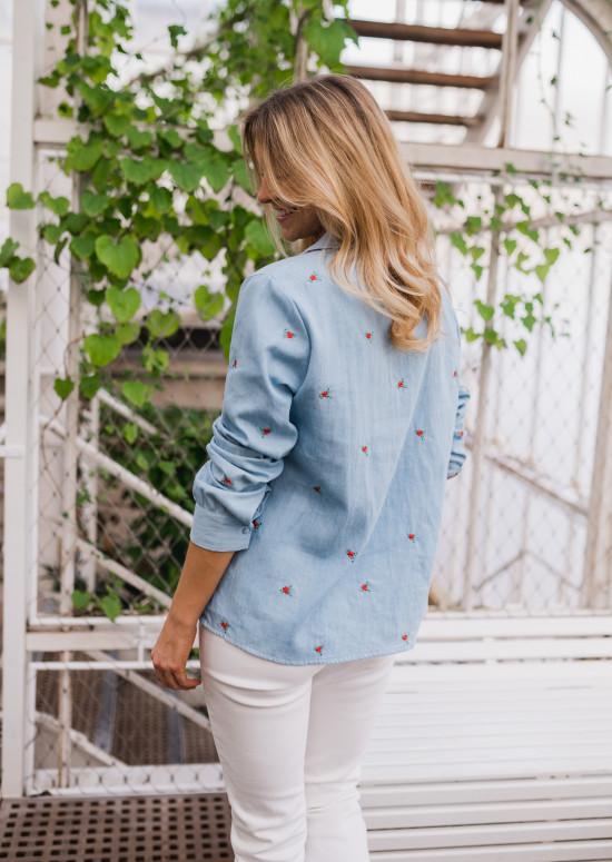 Chemise Carmela en jeans à fleurs