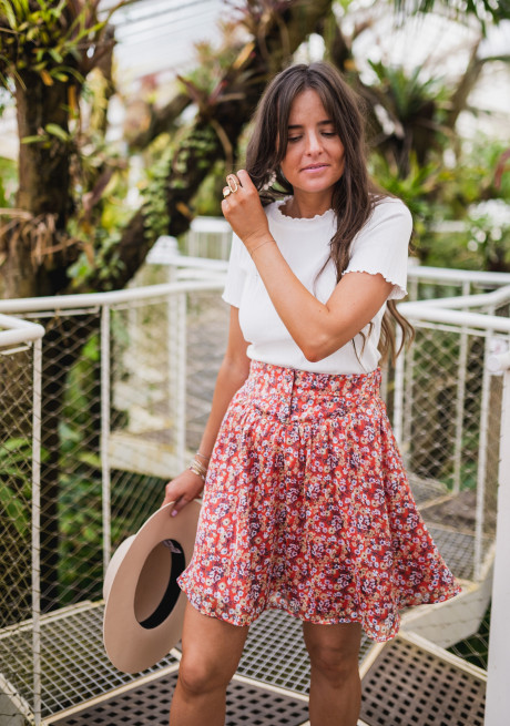 Red Maud skirt with flowers - CREATION