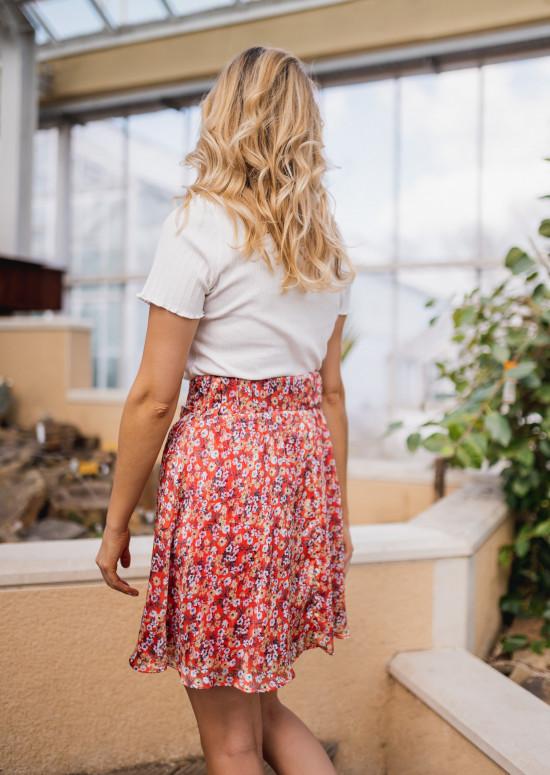 Jupe Maud rouge à fleurs - CREATION