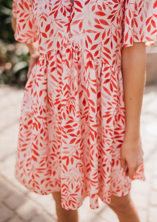 Robe Vanny rose à motifs rouges