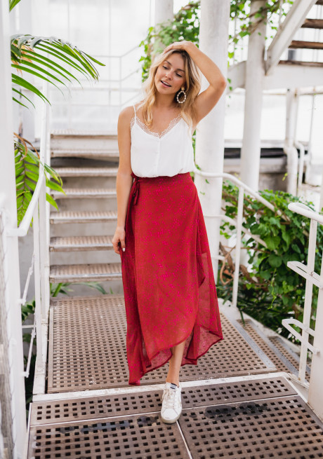 Red Sobel skirt with pink pattern - CREATION