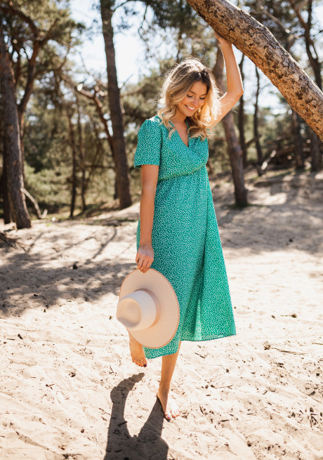 Green Norma dress with hearts