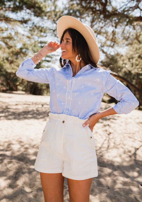 Sella shirt with blue flowers