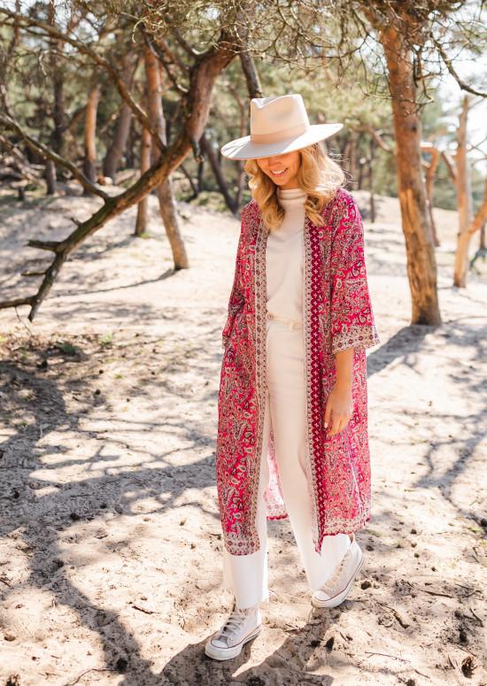 Kimono Sansa rose à motifs