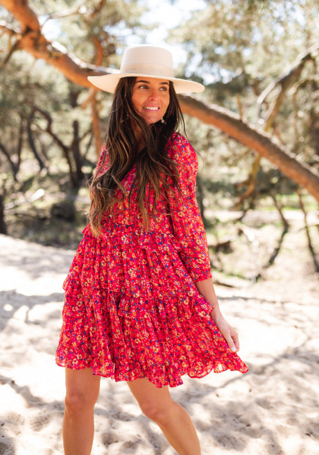 Red Baby dress with flowers - CREATION