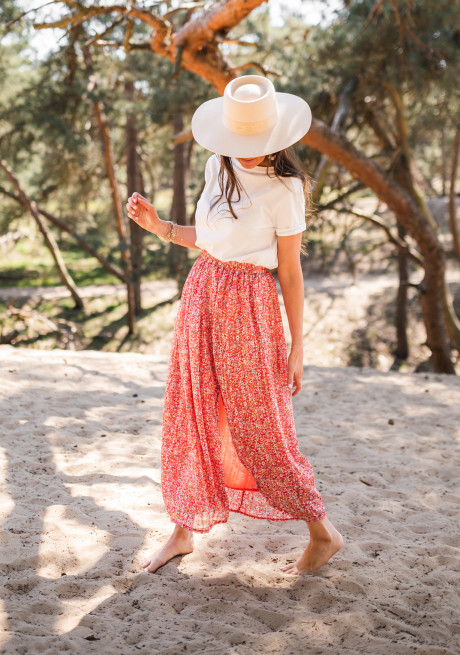 Red Ondine long skirt with flowers