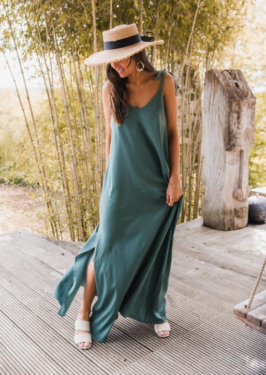 Robe longue Erine verte - CREATION