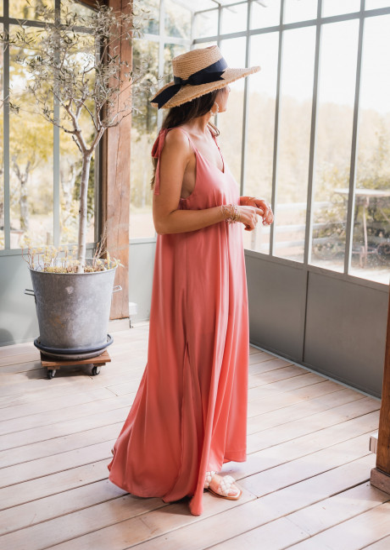 Robe longue Erine rose - CREATION