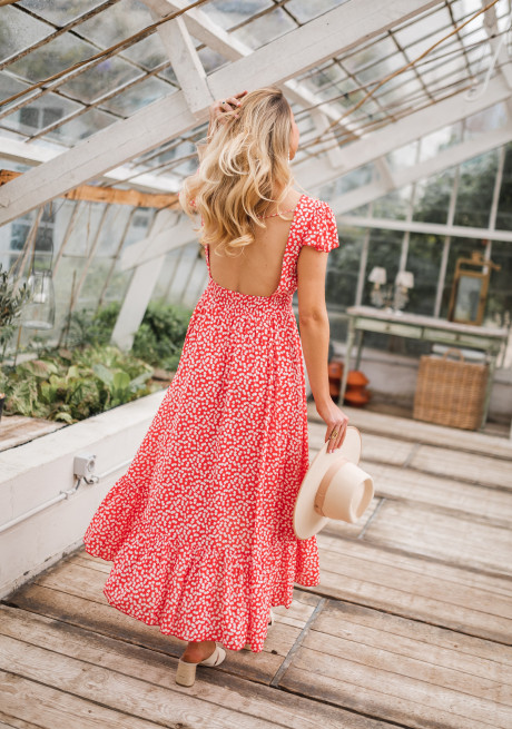 Red Jackie long dress with white flowers