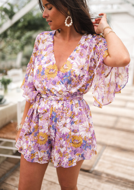 Lilac Cybelle romper with flowers