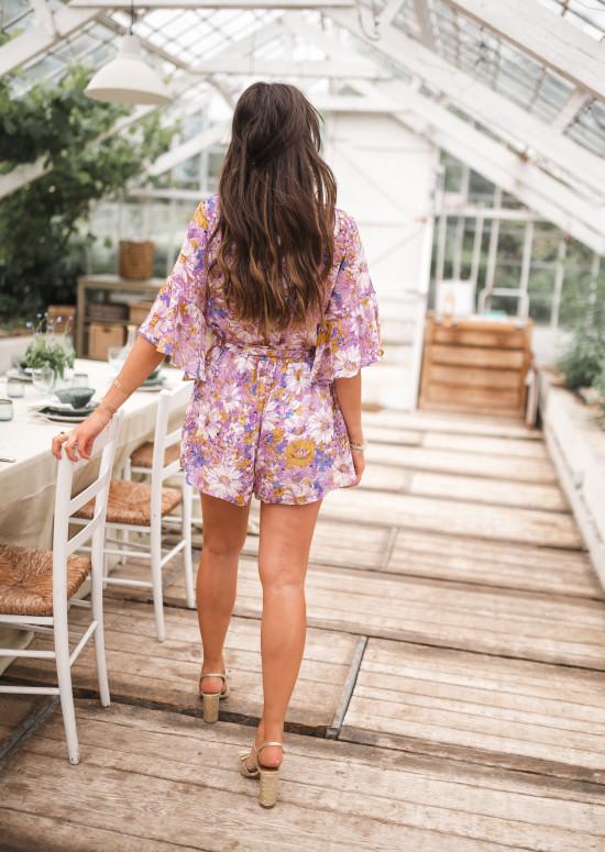 Combi-short Cybelle lilas à fleurs