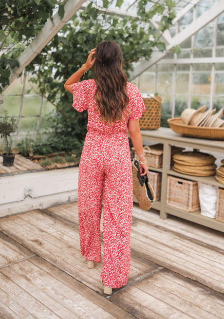 Red Orsay jumpsuit with flowers