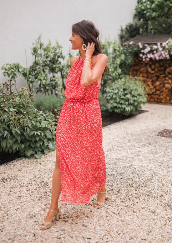 Robe Angelique rouge à fleurs