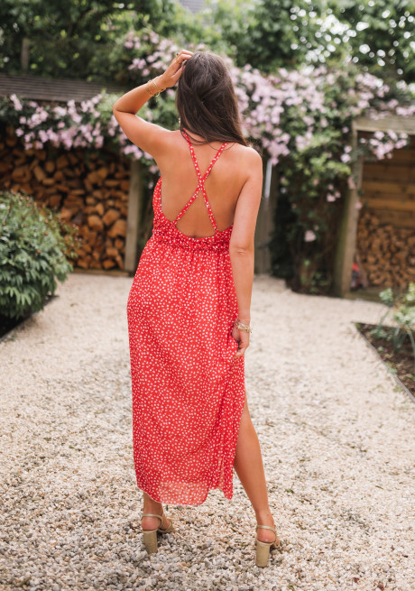 Red Angelique dress with flowers