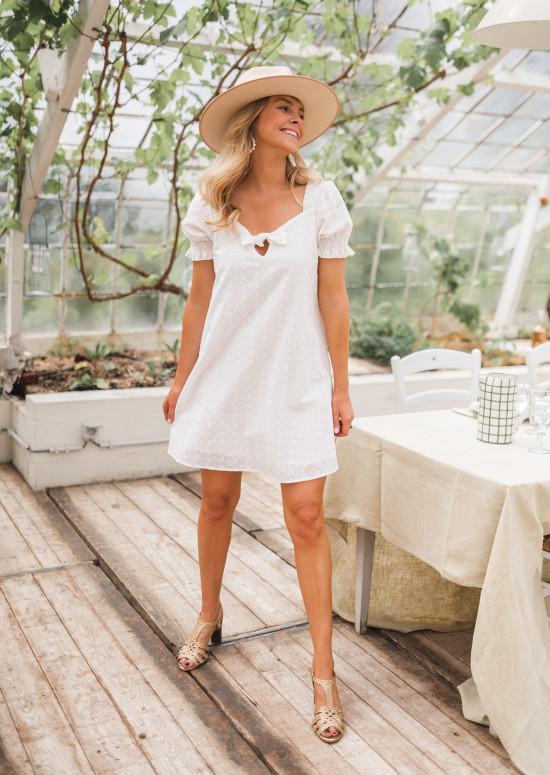 Embroidered Davina white dress