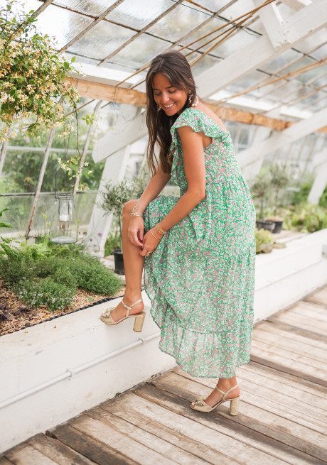 Jesse green dress with floral pattern