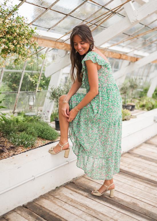 Robe Jesse verte à motifs à fleurs