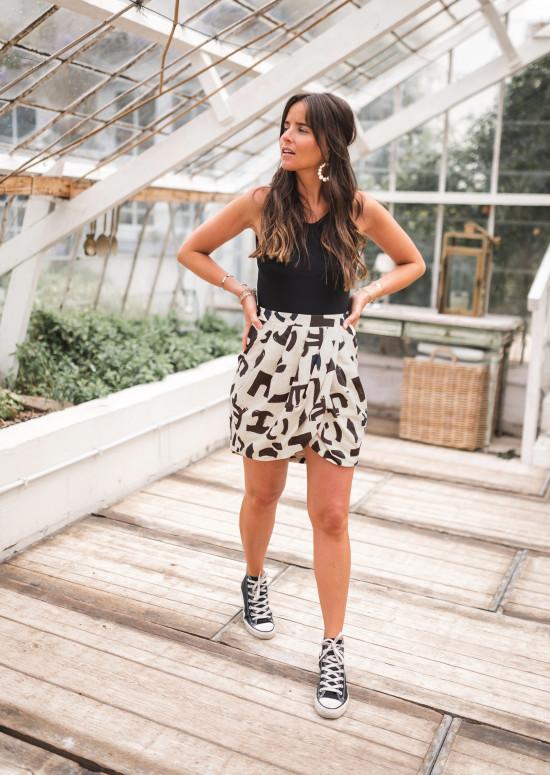 Beige Baltha patterned skirt - CREATION