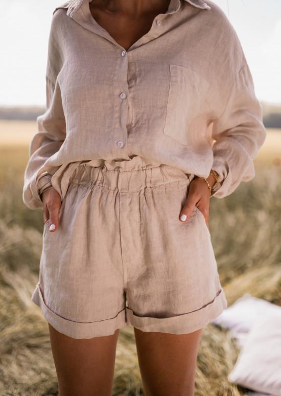 Beige Irini linen shorts