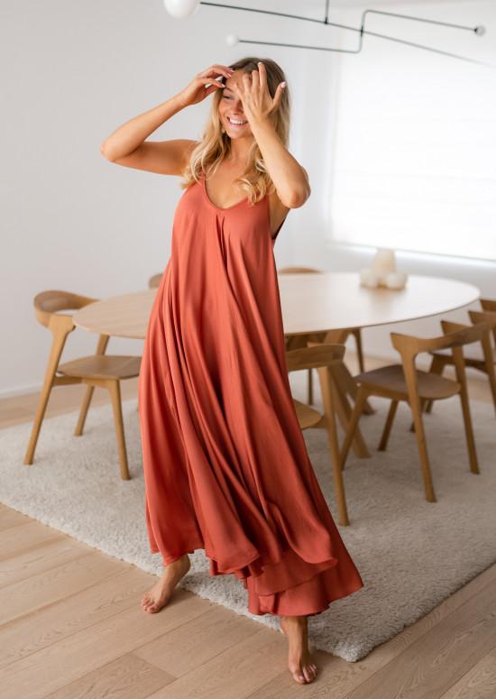 Robe longue Wilma brique