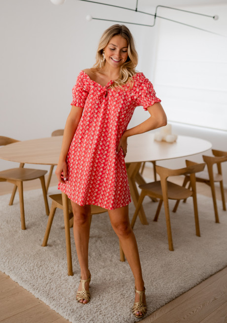 Red Davina dress with embroideries