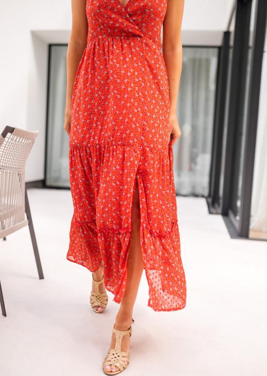 Robe longue Chelby rouge à fleurs