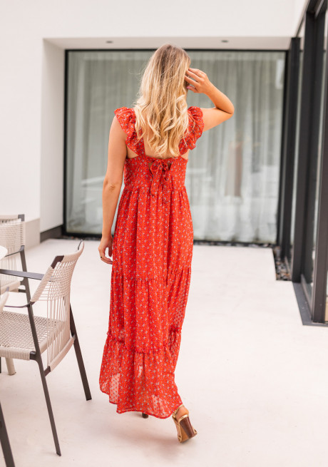 Red Chelby long dress with flowers