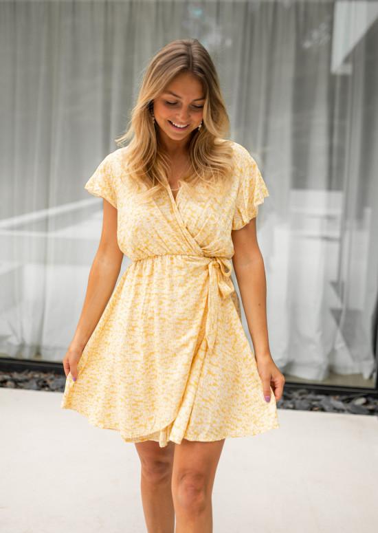 Robe Ilda jaune à motifs